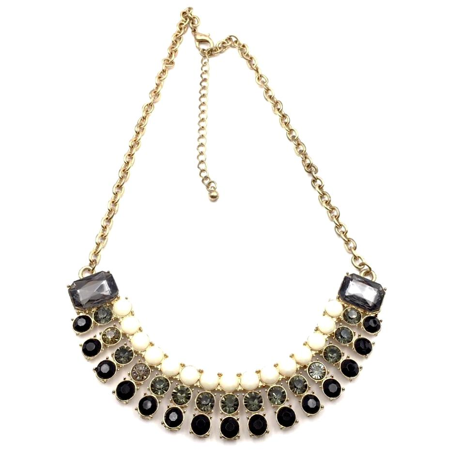 Striking vintage ombré sparkle bib necklace necklace with gray, black and ivory rhinestones.