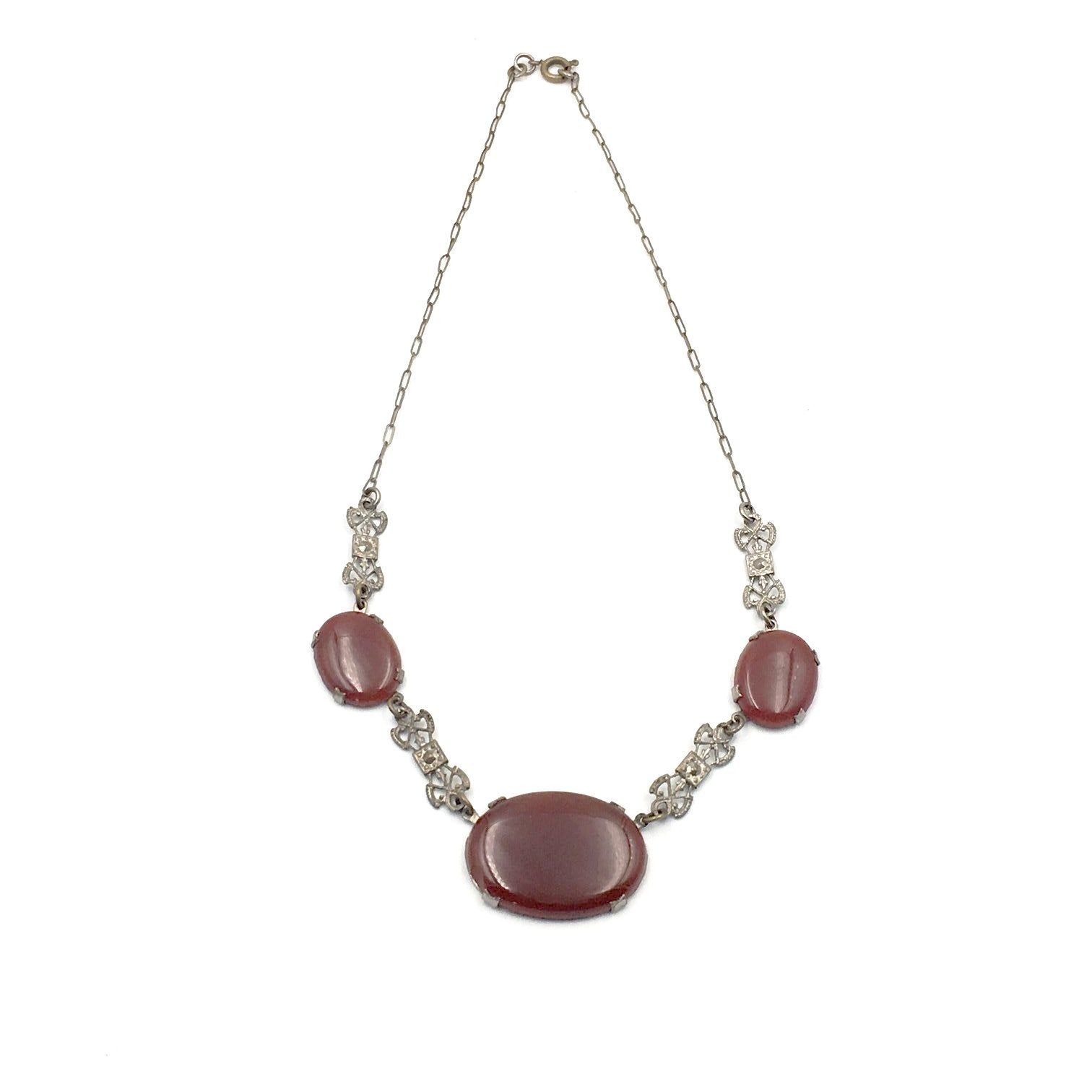 vintage 1920's carnelian necklace