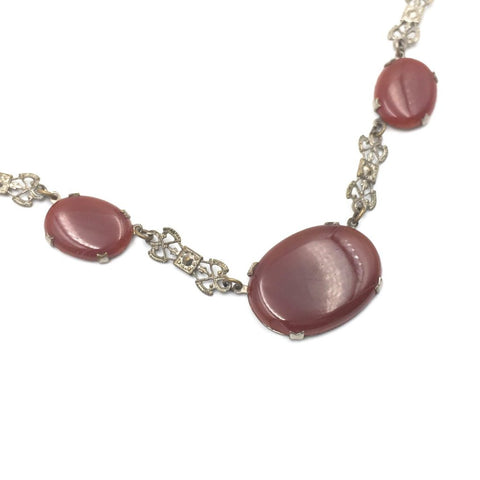 vintage art deco carnelian necklace