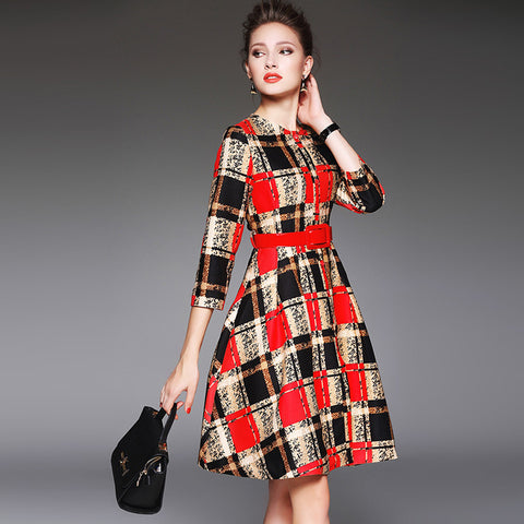 textured plaid swing dress