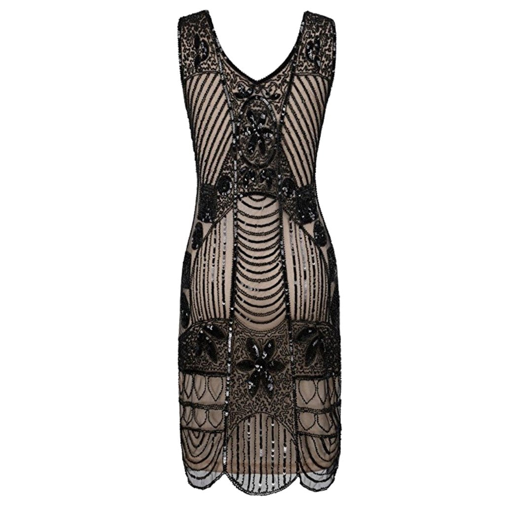 1920's-inspired black beaded sheath dress with sequin adornment.