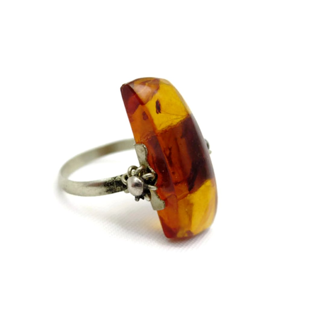 True vintage, 1950's Baltic amber statement ring.