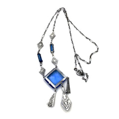 vintage art deco sapphire glass necklace