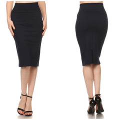 High-rise black pencil skirt with back vent.