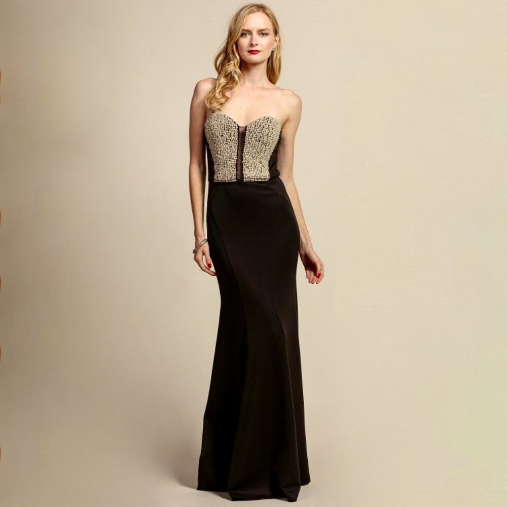 Elegant black strapless mermaid gown with pearl, crystal and mesh embellished bodice.