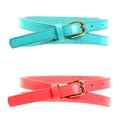 Skinny coral and teal patent leather belt.
