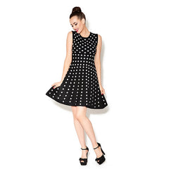 Betsey Johnson black and white polka dot sweater dress.