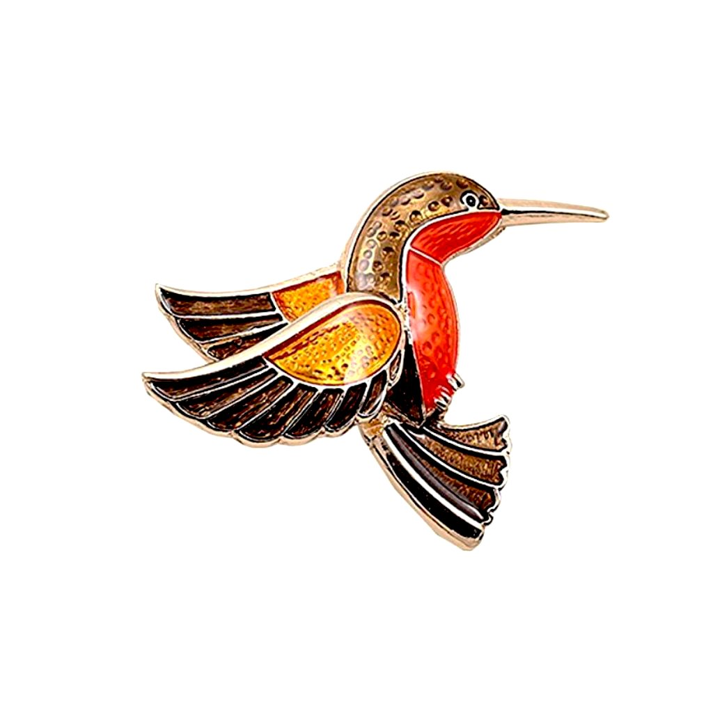 Darling vintage-inspired enamel bird brooch.