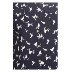 Navy blue blouse with charming bird print