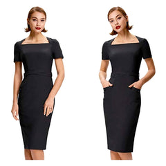 Classic black pencil dress with short sleeves and hip pockets.