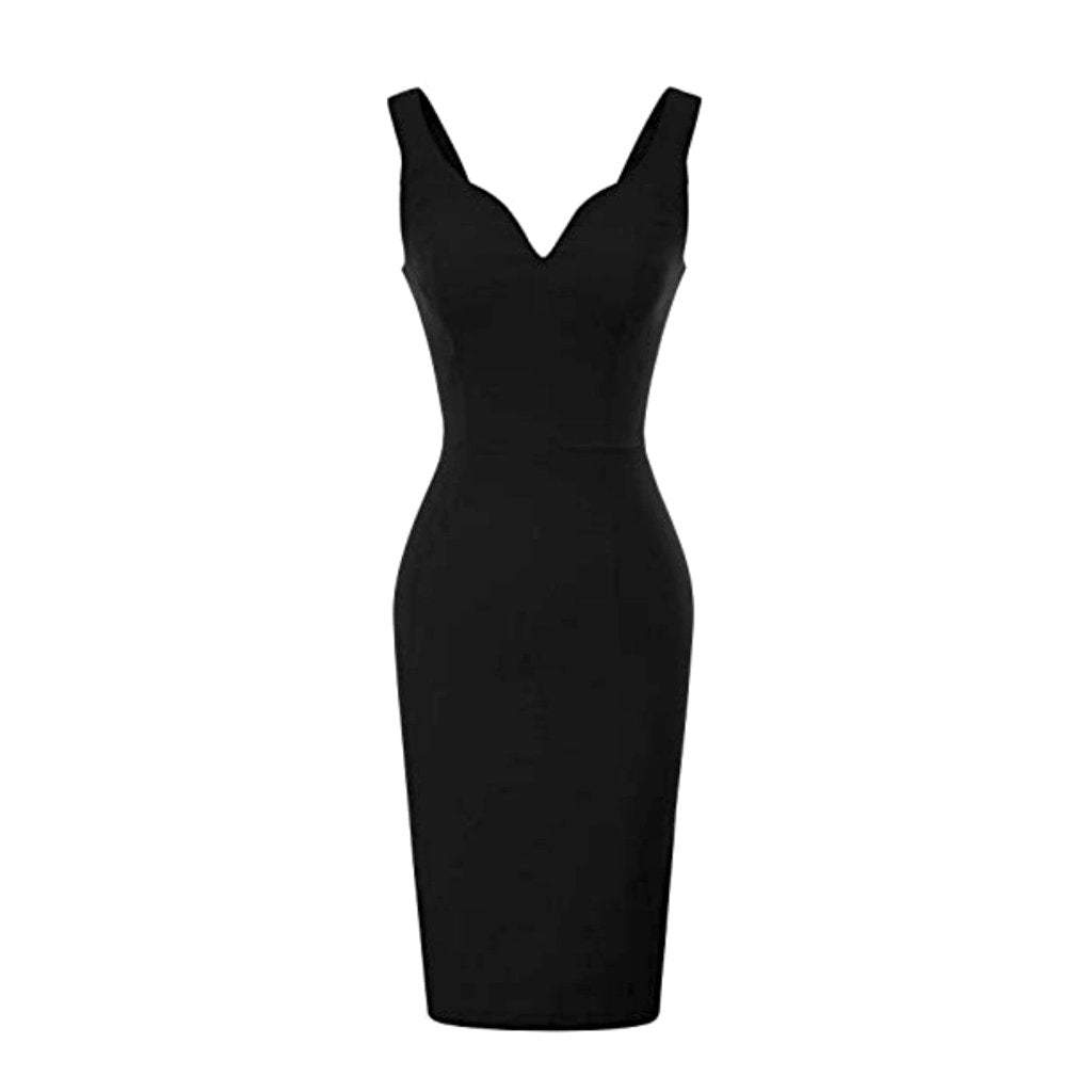 Classic little black pencil dress with sweetheart neckline.