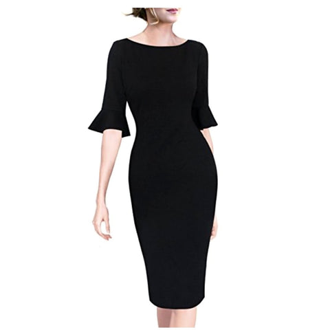 Sophisticated little black bell-sleeve dress with a 50
