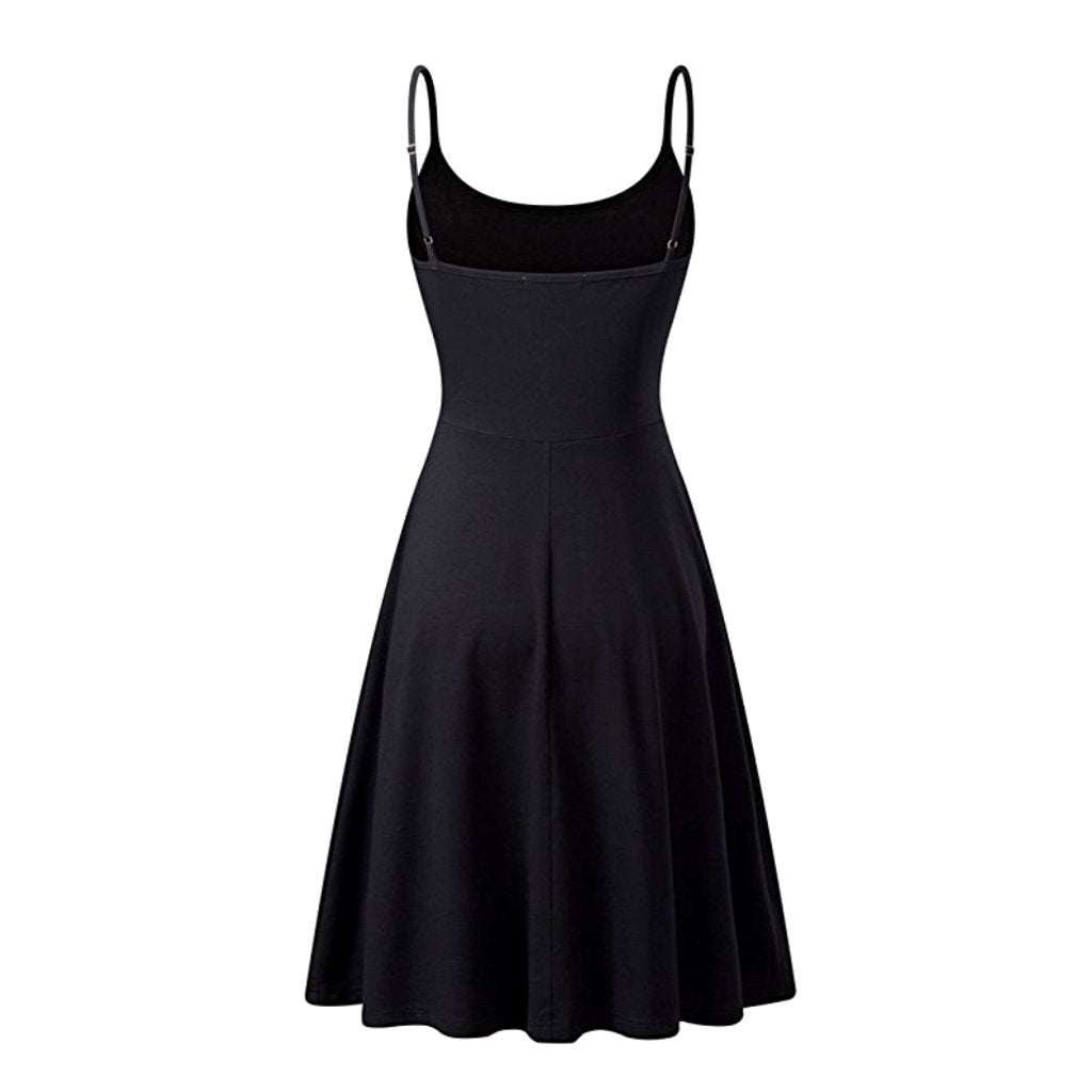 Summery little black sleeveless a-line dress with adjustable straps.
