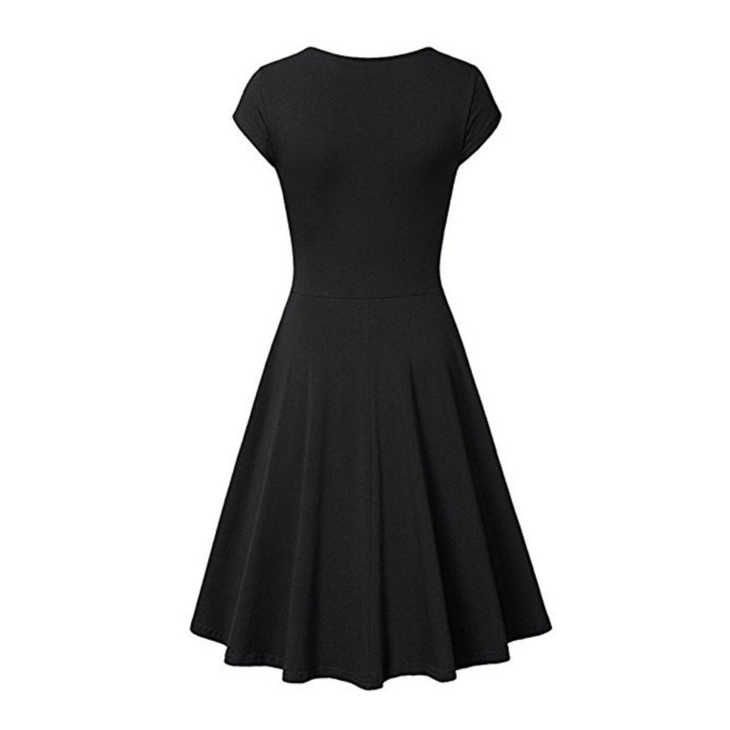 Charming black surplice dress with a flattering a-line silhouette.