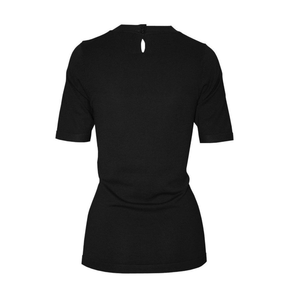 Black short-sleeve crewneck sweater with back keyhole detail.