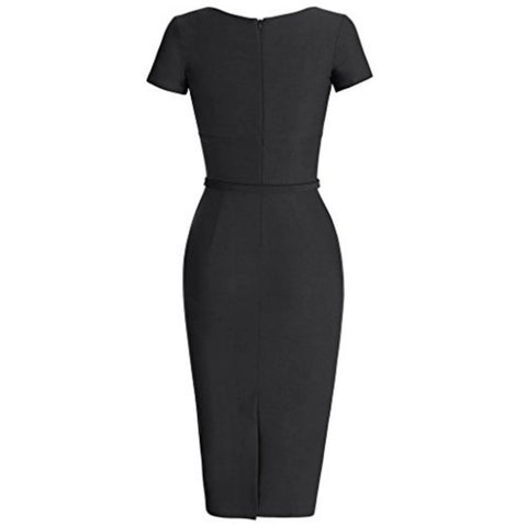 pleated pencil dress in noir