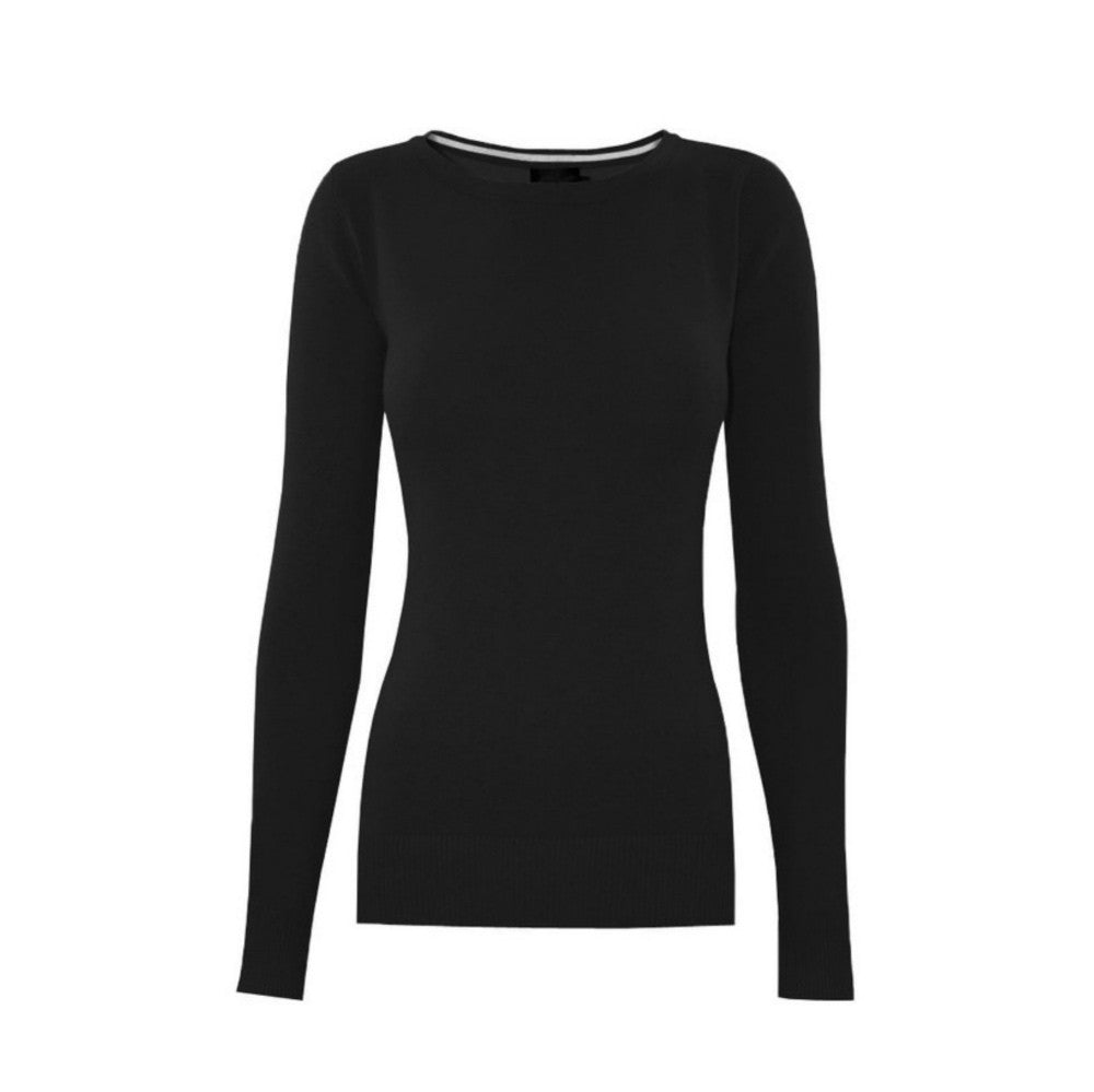 Classic black crewneck sweater in a soft, medium-weight fabric with a pinch of stretch.