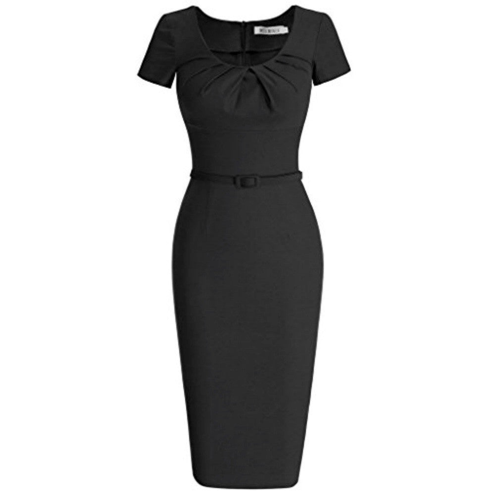 Vibrant noir cap-sleeved pencil dress with pleated scoop neckline and matching belt.