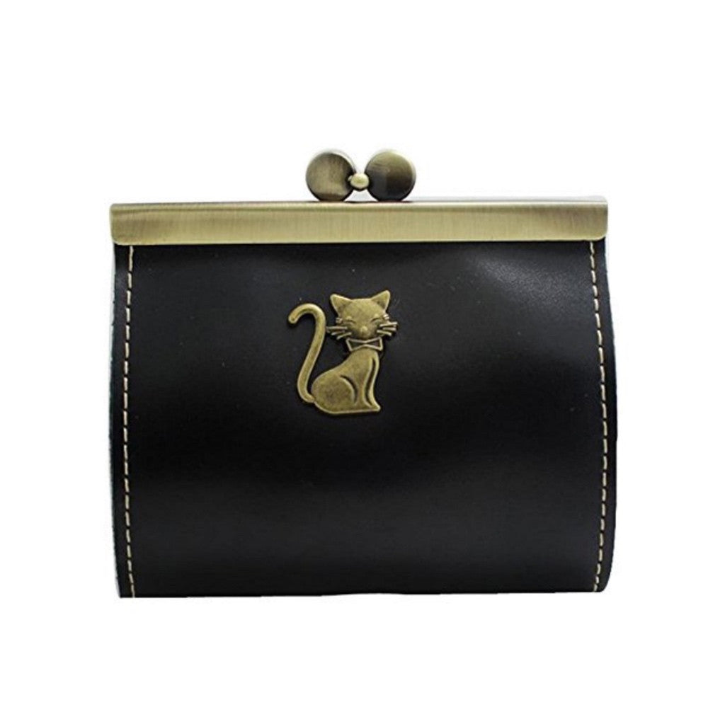 Vintage-style wallet/mini clutch with cat detail.