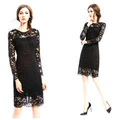 Little black lace sheath dress with long sleeves and demure knee-length.
