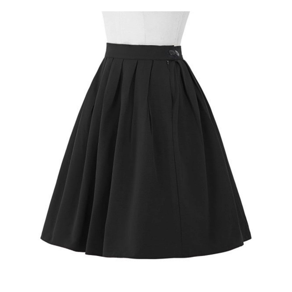 Black a-line skirt with box pleats and knee-length.
