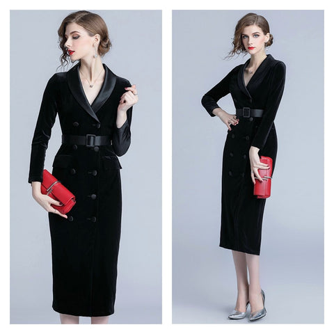 Wear to work black velvet long sleeve pencil dress.