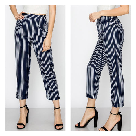 navy stripe capri