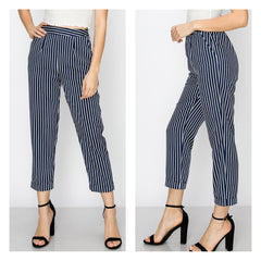 Classic navy blue pinstripe capri cigarette pants with hip pockets.