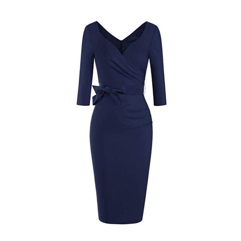 Dark navy blue long-sleeved pencil dress with sweetheart neckline and flattering ruching.