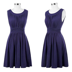 Charming navy blue sleeveless pleated a-line dress.