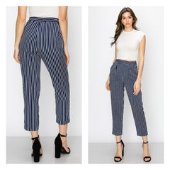 Classic navy blue pinstripe capri ankle pants with hip pockets.