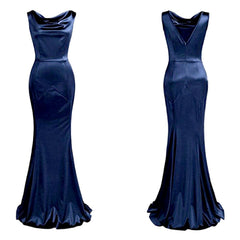Exquisite 1930's-inspired sapphire blue floor-length sheath dress.
