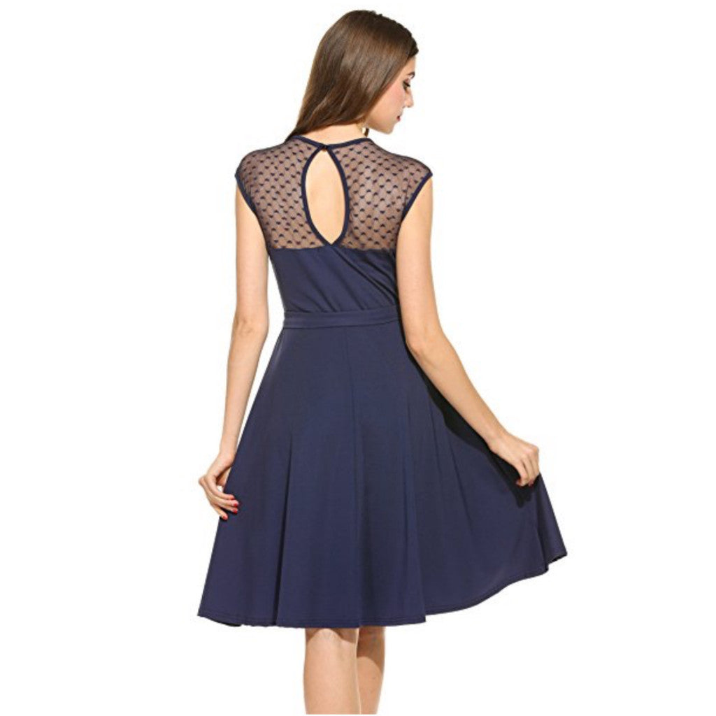 Vibrant midnight a-line dress featuring sweetheart neckline, key-hole back & meshed yoke with heart details