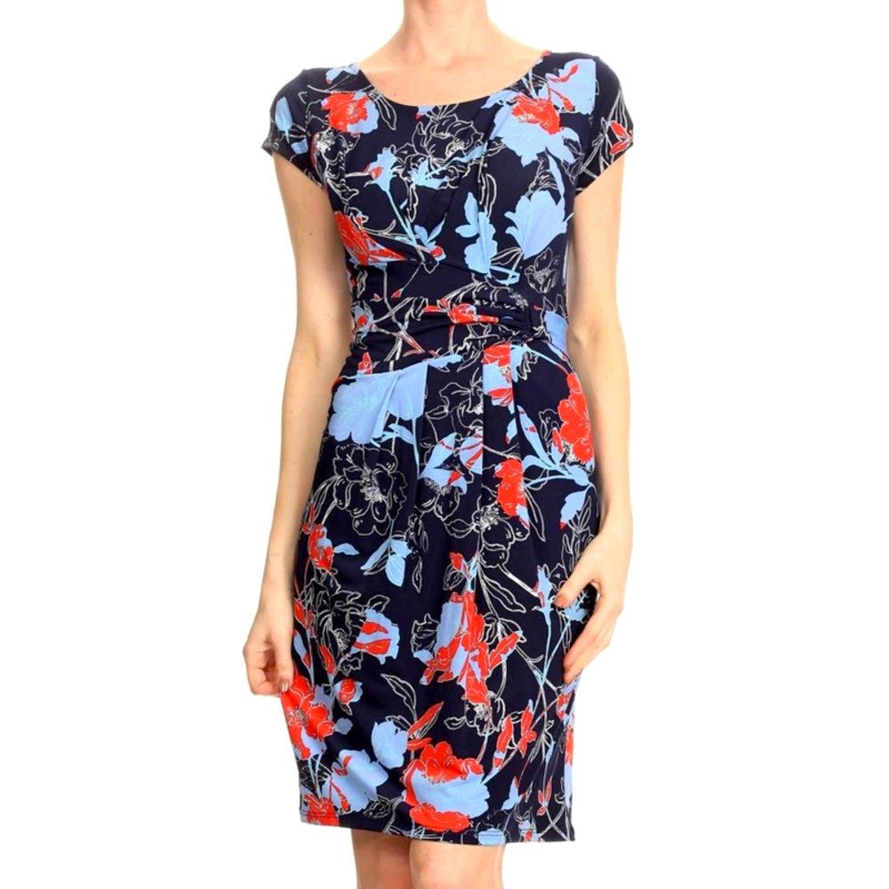 Navy blue abstract floral sheath dress with cap sleeves.