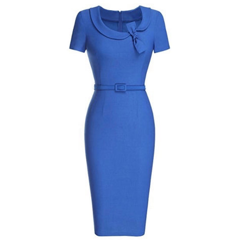 Classic blue cap-sleeved pencil dress with peter pan collar and matching belt.