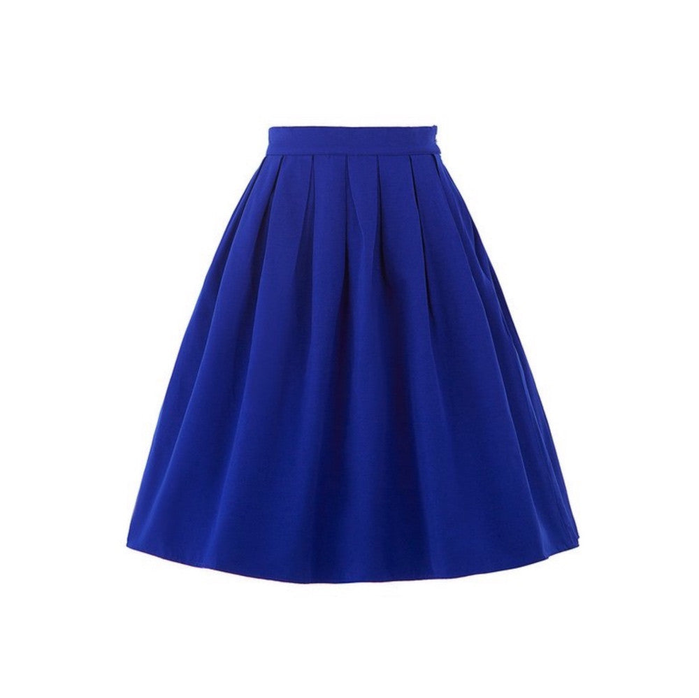 Royal blue a-line skirt with box pleats and knee-length.