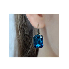 Lovely faceted blue dangle earrings.