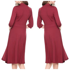 Charming raspberry red midi dress with bow tie collar.