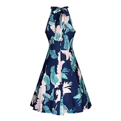 Lovely 1950's-style halter a-line dress in a blue tropical floral print.