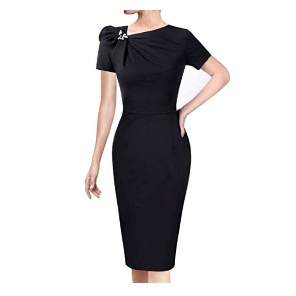 Sophisticated little black cocktail dress with a 50's-inspired hourglass silhouette.