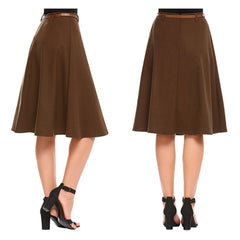 Flattering coffee brown a-line midi skirt with coordinating belt.