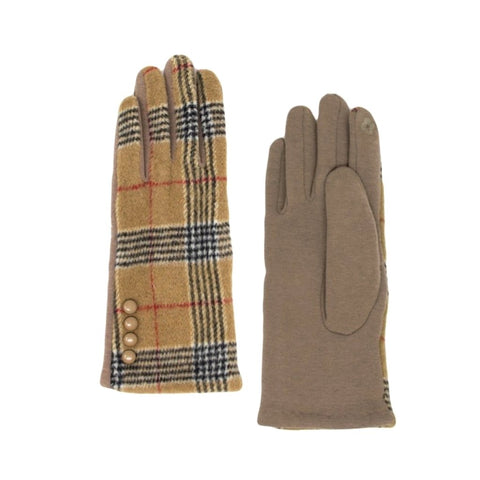 Charming, button-detail camel plaid texting gloves with warm, fleece lining.