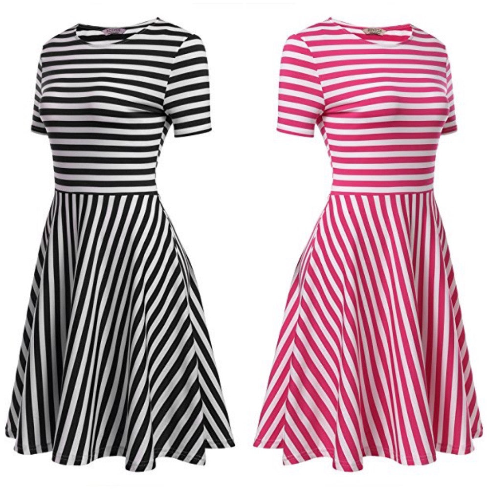striped a-line dress with short sleeves.