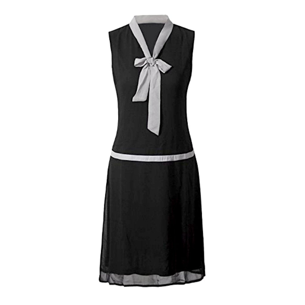 Charming 1920's-inspired black chiffon sleeveless dress with white neck tie accent.