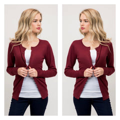Classic burgundy long-sleeved crewneck cardigan in a soft, medium-weight fabric.