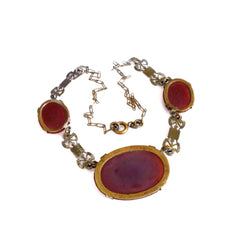 Exquisite vintage 1930's art deco carnelian glass necklace.