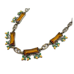 Lovely vintage 1930's Czech glass art deco necklace with open-back topaz stones.