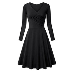 Charming black long sleeve surplice dress with a flattering a-line silhouette.
