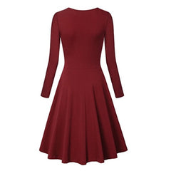 Charming claret long sleeve surplice dress with a flattering a-line silhouette.