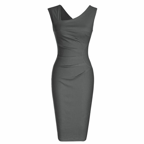 Sleeveless gray sheath dress with asymmetric neckline and flattering ruching.